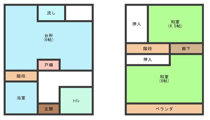 2K(1F:台所6丁・バス・トイレ / 2F: 和室6丁・和室4.5丁)