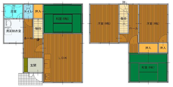 5LDK(1F:LDK10 和6 バス トイレ、2F:洋6 洋6 和6)