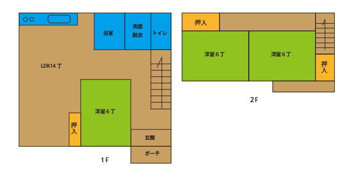4LDK(1F:LDK14 和6 台所 バス トイレ、2F:和6 和6)