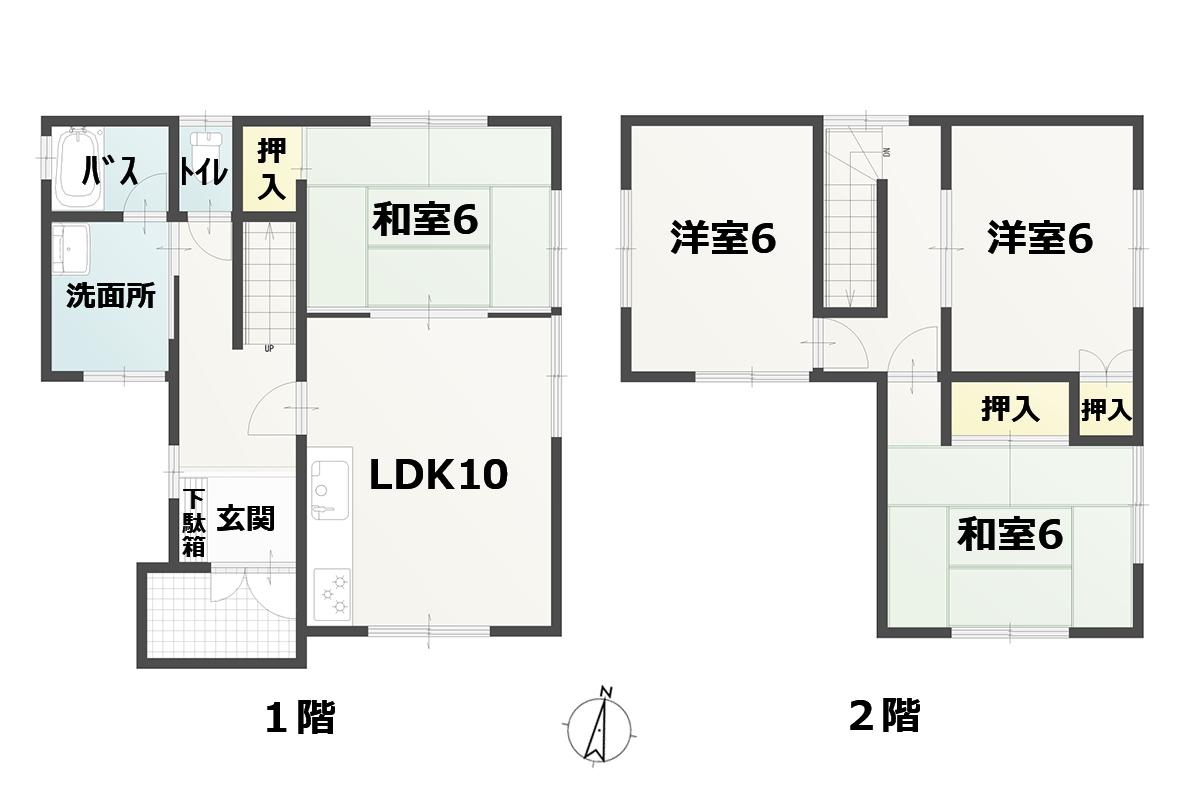 4LDK(1F:LDK10 和6 バス トイレ、2F:洋6 洋6 和6)