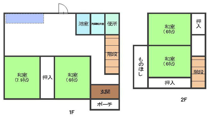 4LDK(1F:和7.5 和6 台所 バス トイレ、2F:和6 和6)