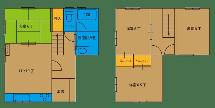 4LDK(1F:1LDK10 和6 バス トイレ、2F:洋6.5 洋6 洋6)